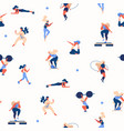 seamless pattern with girls doing sport exercises vector image vector image