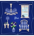 Set of furniture five individual objects in blue vector image vector image
