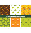 set of seamless background patterns for st patrick vector image