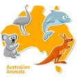 set stickers with australian animals and map as vector image