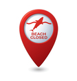 shark icon red map pointer vector image vector image