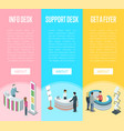 support and information desk isometric flyers vector image