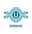 technology letter u - logo template concept vector image