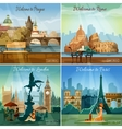 Touristic cities 4 flat icons composition vector image vector image