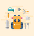 Travel Kit with Backpack and Camping Stuff in Flat vector image