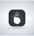 white bomb icon over app button vector image