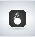 white bomb icon over app button vector image