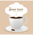 white cup of coffee and text vector image vector image