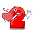with heart cartoon cake birthday candle number two vector image