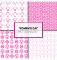 women day seamless patterns set with pink female vector image
