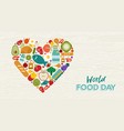 world food day card fruit and vegetable icons vector image vector image