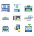 Banking Payment ATM Money Cash Check Machines Flat vector image