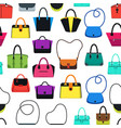 cartoon handbag or female bags background pattern vector image