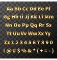 Glossy metal font Golden letters and numbers on vector image