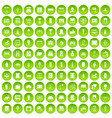 100 interior icons set green vector image vector image