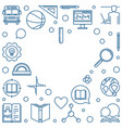 back to school heart outline frame or vector image vector image