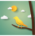 bird on branch paper art style vector image