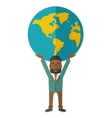 Black Businessman carrying big globe vector image
