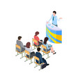 business training coach on tribune 3d people vector image vector image