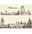 Chennai engraved hand drawn sketch vector image vector image