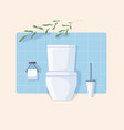 clean modern wc with white ceramic toilet bowl vector image vector image