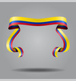 colombian flag wavy ribbon background vector image vector image