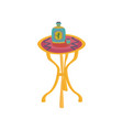 colorful mexican table with tequila bottle cartoon vector image