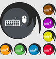 Computer keyboard and mouse Icon Symbols on eight vector image vector image