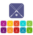 crossed baseball bats and ball icons set vector image vector image