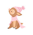 cute baby deer wearing pink knitted hat and scarf