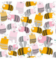 cute bee seamless pattern cartoon vector image