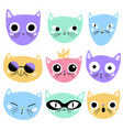 cute cartoon cats faces vector image