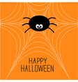 Cute cartoon spider on the web Halloween card vector image vector image