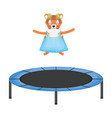 cute female tiger in slastic trampoline vector image