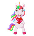 cute little pony unicorn holding red heart vector image vector image