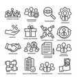 engagement line icons set on white background vector image vector image