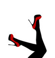 female legs wearing red shoes with high heels vector image vector image