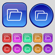 Folder icon sign A set of twelve vintage buttons vector image