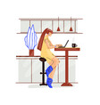 freelance woman work in comfortable cozy home vector image