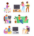 gamer man or woman with child character vector image