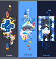 gamification elements flat banners set vector image vector image