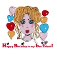 girl with birthday BALOONS vector image vector image
