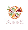 grunge pizza with leaves design template vector image vector image
