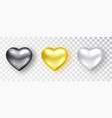 hearts realistic set black gold white vector image vector image
