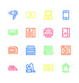 icons of household appliances are flat colored vector image vector image