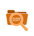 magnifying optical glass with words cloud security vector image vector image