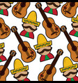 man with sombrero and guitar mexico culture vector image vector image