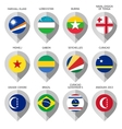 Marker from paper with flag for map - set eleventh vector image vector image