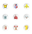 Military middle ages icons set cartoon style vector image vector image