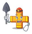 miner retro plus sign addition symbol cartoon vector image vector image